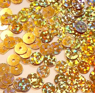 Value Pack 50g 5mm Gold Hologram Flat Round Sequins.